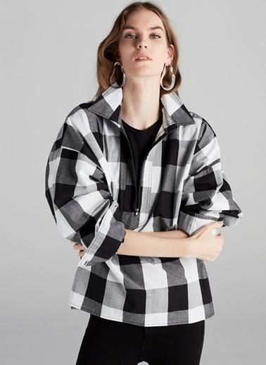 Fermuarlı Kareli Gömlek-Ipekyol